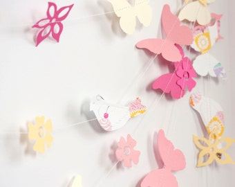 Paper garland with butterflies birds flowers pink hot pink yellow