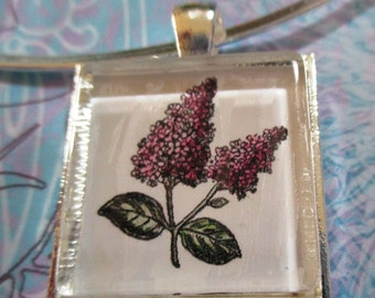 Lilacs Glass Pendant or Scarf Slide