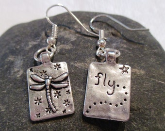 Dragonfly Mismatched Silver Earrings