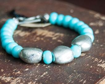 SALE Aqua and Silver Beaded Stacking Bracelet Glass Beads Turquoise Summer Bright Beaded Bracelet Boho