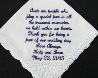 Wedding Handkerchief embroidered Aunt of the Bride or Aunt of the Groom.  Very popular message.