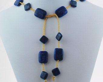 Lapis Lazuli  Gold Seed Bead Natural Stone Lariat