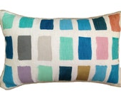 SALE: Colour Swatch lumbar cushion in blues, violet, mint and metallics