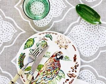 White Lanterns linen tablecloth