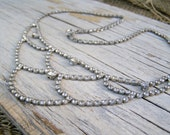 Vintage Rhinestone Bib Choker Necklace, Mid Century Oxidized Silver Tone Clear Crystal Estate Bridal Glam Evening Jewelry Statement Necklace