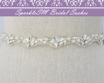 Pearl Crystal Sash, Beaded Wedding Belt, Bridal Dress Sash, Rhinestone Sash, Bridal Belt, Bridesmaids Sash Rhinestone Belt Pearl Bridal Sash