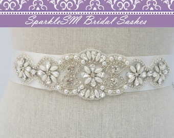 Crystal Bridal Dress Sash, Bridal Sash, Bridal Belt, Rhinestone Bridal Sash, Rhinestone Applique, Bridal Applique, Bridal Dress Sash