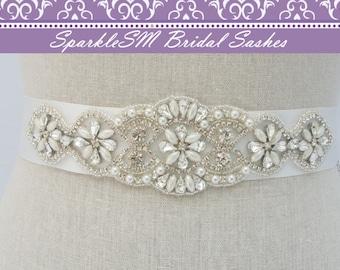 Crystal Bridal Dress Sash, Bridal Sash, Bridal Belt, Rhinestone Bridal Sash, Rhinestone Applique, Bridal Applique, SparkleSM Bridal, Pia