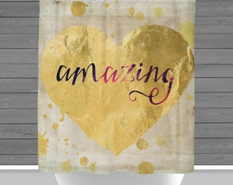 Shower Curtain and More - Amazing Gold Foil Heart Motivation Inspiration Typography | See Dropdown for Pricing and Matching Decor Options