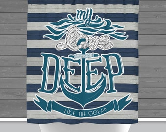 Anchor Shower Curtain: My Love Deep Like the Ocean   Made in the USA   12 Hole Fabric Bathroom Decor