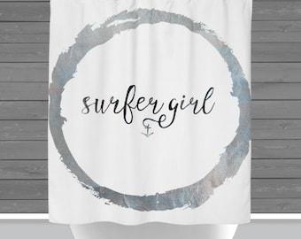 Surfer Girl Shower Curtain: Nautical Anchor Beach House Decor   Made in the USA   12 Hole Fabric Bathroom Decor