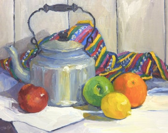 Original Still life Oil Painting Fruit Kettle and Cloth