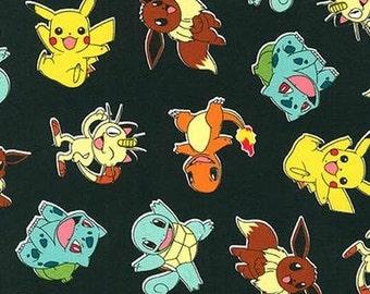 In Stock - Pokemon Characters on Black From Robert Kaufman