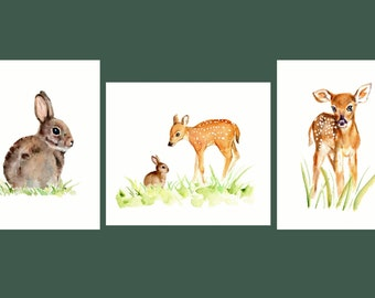 Deer and Rabbit Nursery Set- 3 prints, Woodland Nursery Set, Fawn and Rabbit Watercolors, Bunny Nursery Decor, Fawn Nursery Art,