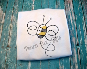 Bee Embroidery Shirts for Girls, Bee Shirt, Personalized Shirts for Girls, Sketch Embroidery Custom Shirts for Kids