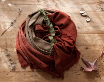 SALE! Merlot Marsala Handwoven Merino Wrap or Throw Ethical Naturally Dyed Dip Dyed Bind and Fold