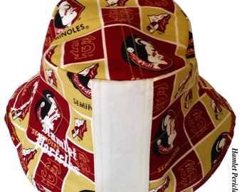 FSU White-stripe Bucket Hat | Florida State University | Florida State Seminoles | Gold and Garnet Hat by Hamlet Pericles