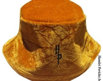 Gold Crushed Velvet Unisex Bucket Hat   Plush Hat   Gold Velvet Hat   Glossy Sun Hat by Hamlet Pericles   HP61915c