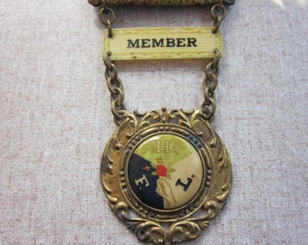 FREE SHIPPING Antique Order of Calanthe Fraternal African-American Group Member Badge or Pin