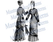 "Two in One - Victorian Dress Engraving, 11"" tall, Instant Digital Download, JPG & PNG, 1879 #2"