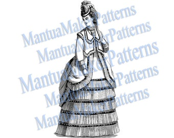 Victorian Dress Engraving, Instant Digital Download, 1870s #3