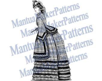 Victorian Dress Engraving, Instant Digital Download, 1871 #11