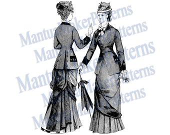 """Two in One - Victorian Dress Engraving, 11"""" tall, Instant Digital Download, JPG & PNG, 1879 #2"""