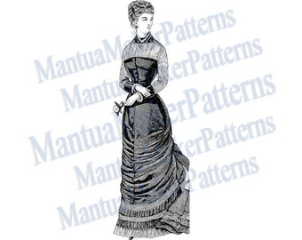 "Victorian Dress Engraving, 11"" tall, Instant Digital Download, JPG & PNG, 1879 #8"
