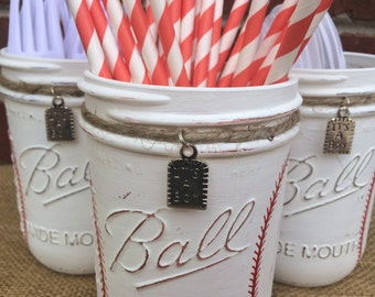 Baseball Baby Shower Centerpiece. It's a Boy. Baseball Party. Hand Painted Mason Jars. Utensil Holder. Baseball Room Decor. Mason Jar