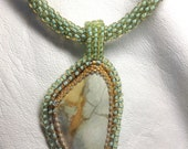 Belise Sea created by Lynn Parpard,  Stunning Rare Turquoise Cabochon  One of a Kind ART Piece !