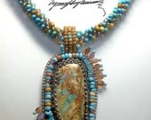 A one of a Kind made one bead at a time ... Nevada Boulder Turquoise necklace created by Lynn Parpard