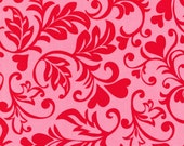 Fat Quarter Fabric for quilt or craft Michael Miller Swirly Hearts in Poppy Fat Quarter