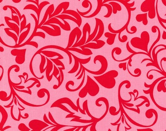 Michael Miller Fabric by the yard Swirly Hearts in Poppy 1 yard