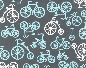 Fabric for quilt or craft Michael Miller Bicycles in Gray Half yard