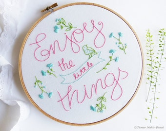 Inspirational saying, Embroidery Kit, Inspirational quote wall art - Enjoy the little things - Expression, Homemade craft, Modern embroidery
