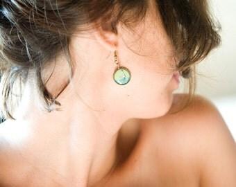 Green Earrings - Earrings - Art Jewelry - Vintage Style Jewelry - Crane Earrings - Bird Earrings - Unique Earrings (0-74E)