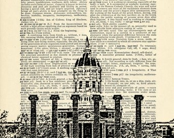 University of Missouri Columns Mizzou Printed on Upcycled Vintage Dictionary Paper - 7.75x11