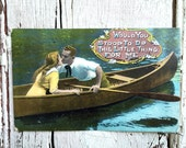 Valentine post cards valentines decoration lovers kissing in boat