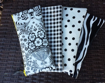 Set of 4 Zippered Oil Cloth Pouches--Mix and Match Black and White Patterns Cosmetic Bags--Purse Organizer--bridesmaid or teacher gift