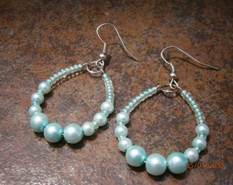 Glass Pearl Memory Wire Hoop Earrings - Women's Beaded Hoop Earrings - Aqua