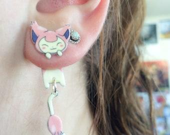 Kawaii Pokemon Skitty Clinging Earrings