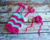 Hot Pink and Seafoam Blue Romper and Headband, Crochet Outfit, Tieback Headband, Chevron Romper