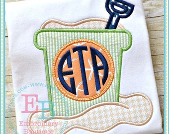 Sand Bucket - Summer Applique Design - Girl's or Boy's shirt - Monogram included - Beach Shirt