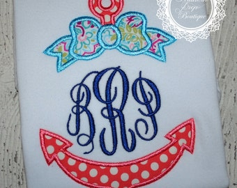 GIRLS Anchor Monogram Applique - Summer Shirt - Monogram - Girl's Summer Design