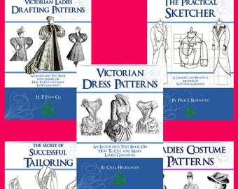 SPECIAL ~ Collection of 5 x Victorian DRESS Sewing PATTERN Books ~ Design Stunning Costumes for Dressmakers Printable Instant Download