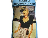 Metro Retro Delicious Dinner - Don't Cook Tea Towel Apron * Christmas, Birthday, Gift  Idea  - OOAK, upcycled.  Made in Australia