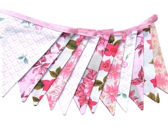 Vintage Bunting - Retro Pink MULTI Floral Flags Shop / Market Display, Party Decoration . Birthday Parties, Garden Party, High Tea, Wedding