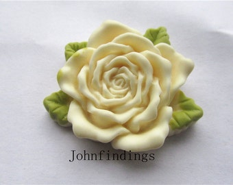 Large--2pc 45mm cream resin  flower cabochon/cameo charms--rose flower with green leaves
