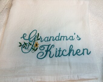 personalized, flour sack towel, grandma's kitchen, kitchen decor, kitchen towel, embroidered towels