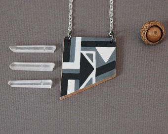 Black and white necklace,long wooden necklace,geometric necklace,unique gift for her